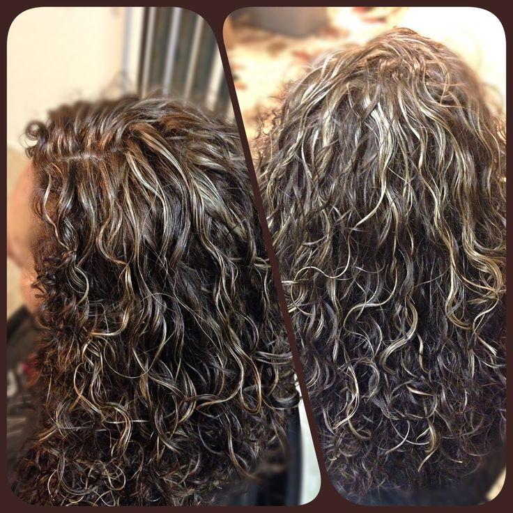 Subtle blonde+caramel highlights med brown hair color naturally curly hair. Via Heidi Kassfy