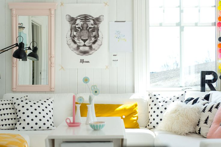 monochrome and yellow accents