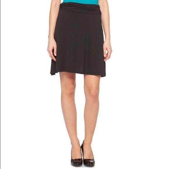 knit skirt black knit a line skirt with fold waist