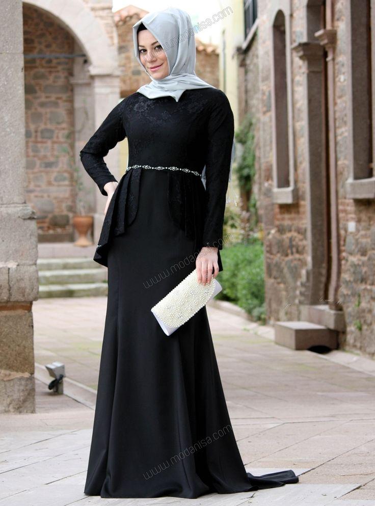 Balık Etekli Üstü Dantelli Peplum Elbise - Siyah - Minel Aşk