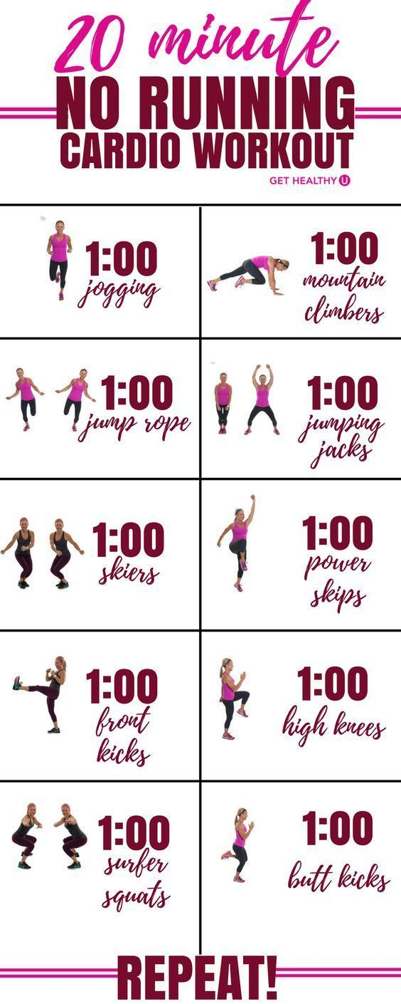 20 minute NO RUNNING cardio workout 1:00 jogging 1:00 mountain climbers 1:00 jump rope 1:00 jumping jacks 1:00 skiers 1:00 power skips 1:00 front kicks 1:00 high knees 1:00 surfer squats 1:00 butt kicks REPEAT!