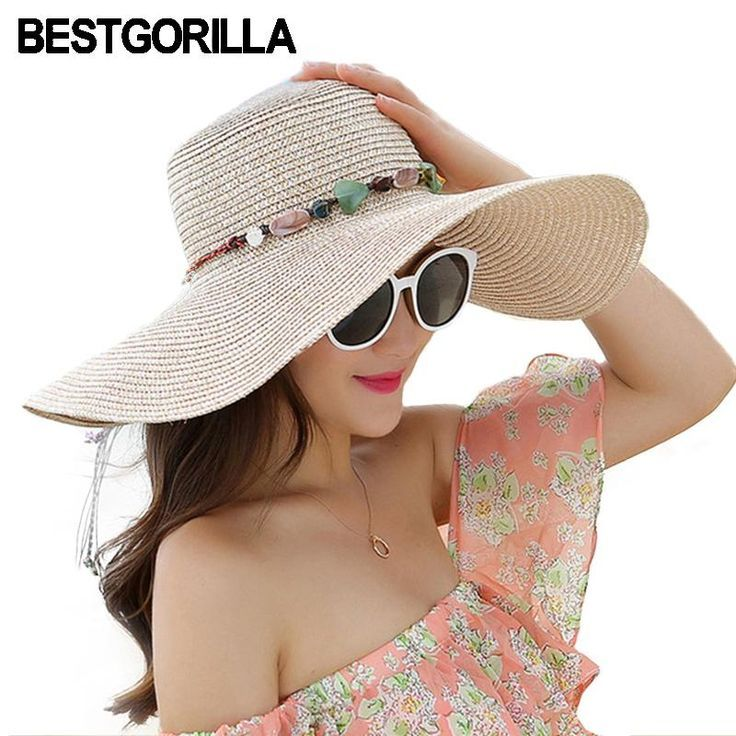Adorable Sun Hat It Just Says Beach Right Big Brim Sun Hats For Woman Foldable Colorful Stone Hand Made Straw H Sun Hats For Women Hats For Women Shade Hats