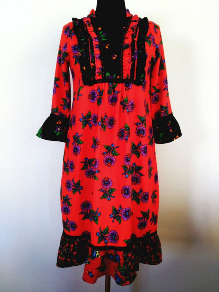 Red Floral Rustic Dress Boho Festival Dress Long sleeved ruffled dress Handmade Turkish Traditional Dress Size 10-12 #etsyseller #bohostyle #shopping #outfitshare