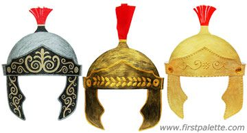Roman Imperial Helmet craft - includes templates to print and ideas on how to decorate them.