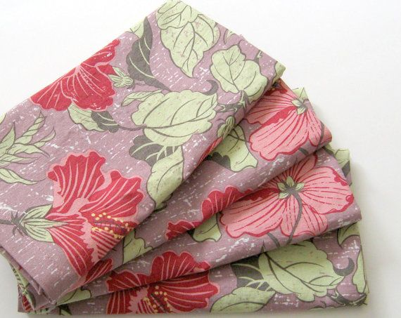 Cloth Napkins - Set of 4 - Purple Pink Green Magnolia Flowers, Bees - Large Dinner Napkins, Table Napkins, Everyday Napkins