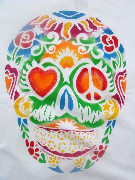 画像2: 【TELOVIN】◆メキシカン スカル◆クルーTシャツ