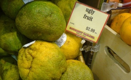"Ugly Fruit  The aptly (if somewhat cruelly) named ugly (or ""ugli"") fruit is a tangelo of Jamaican origin."