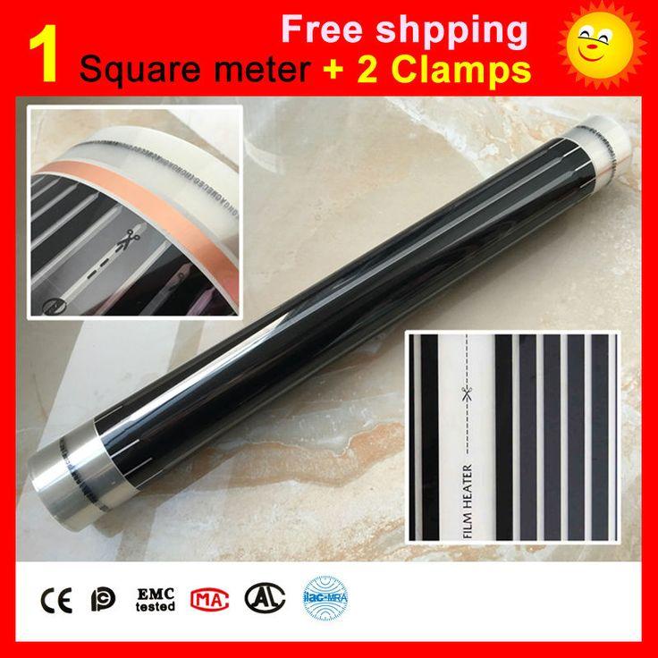 1 meter Persegi lantai Pemanasan film + 2 Klem, AC220V inframerah jauh pemanas film 50 cm x 2 m pemanas listrik untuk ruang