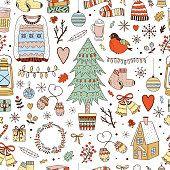Winter Weihnachten nahtlose Vektormuster. Gemütliche Winter und Neujahr Hintergrund mit niedlichen Illustrationen