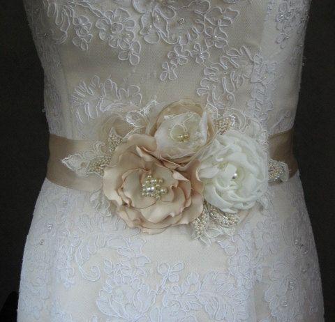 Bridal sash floral wedding belt ivory champagne nude for Flowers for champagne wedding dress