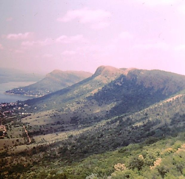 Looking along the Magaliesburg mountain range in South Africa.