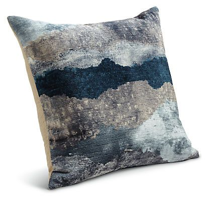A watercolor-inspired design paired with velvet makes our Storm accent pillows beautiful and comfortable. The colors add depth and they layer easily with other pillow patterns. A linen back with a clean, finished edge completes this versatile, exclusive pillow. The included down insert adds to the uncompromising comfort. Exclusive to Room & Board.