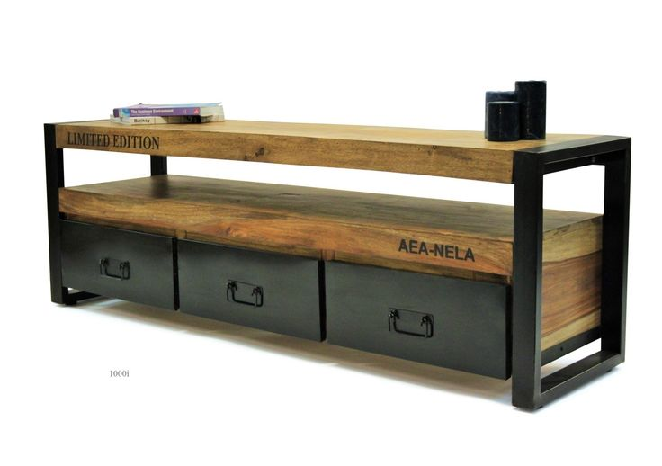 1000i Tv Stand . Sheesham wood and reclaimed iron . Comtemporary Industrial design furniture . Weight 50 kg . W 150 cm H 50 cm D 40 cm . Delivery 1 week if in stock , otherwise 3 months .