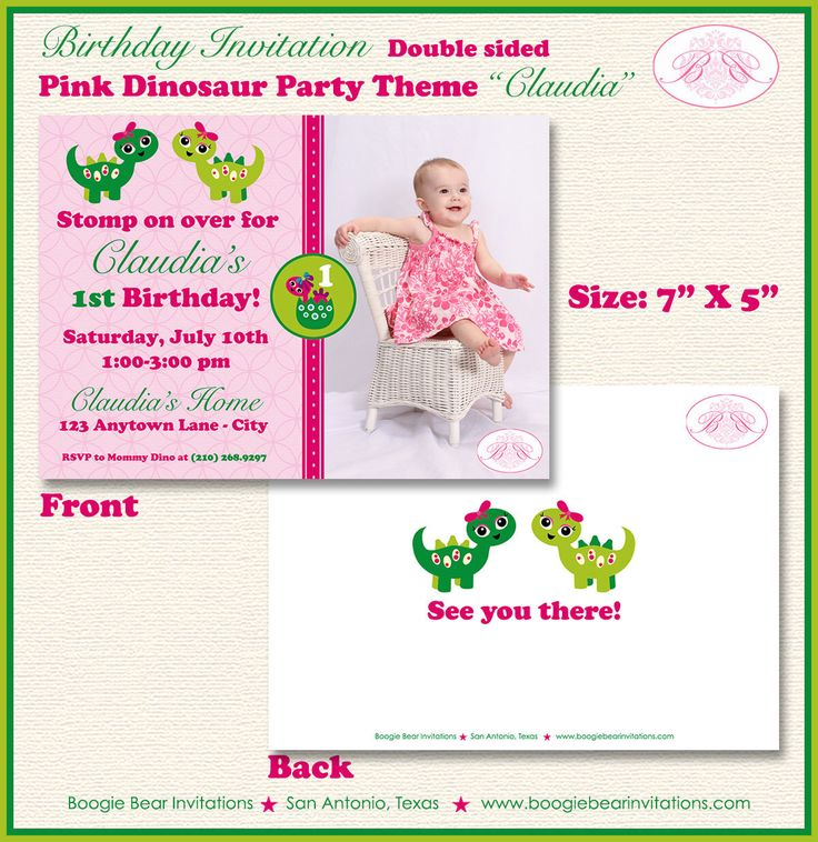 Pink Dinosaur Photo Party Invitation Birthday Girl Lime