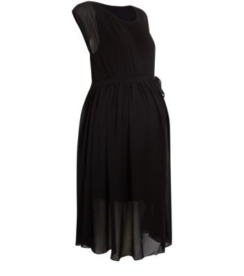 Mamalicious Black Chiffon Woven Tie Waist Dress