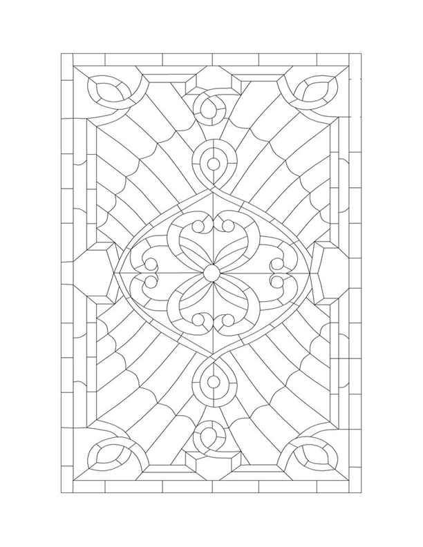 complex stained glass coloring pages - photo#15