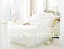 Роскошные fariy домашний текстиль постельных принадлежностей белого кружева постельное белье сатин 100% хлопок принцесса цельный набор домашнего декора(China (Mainland))