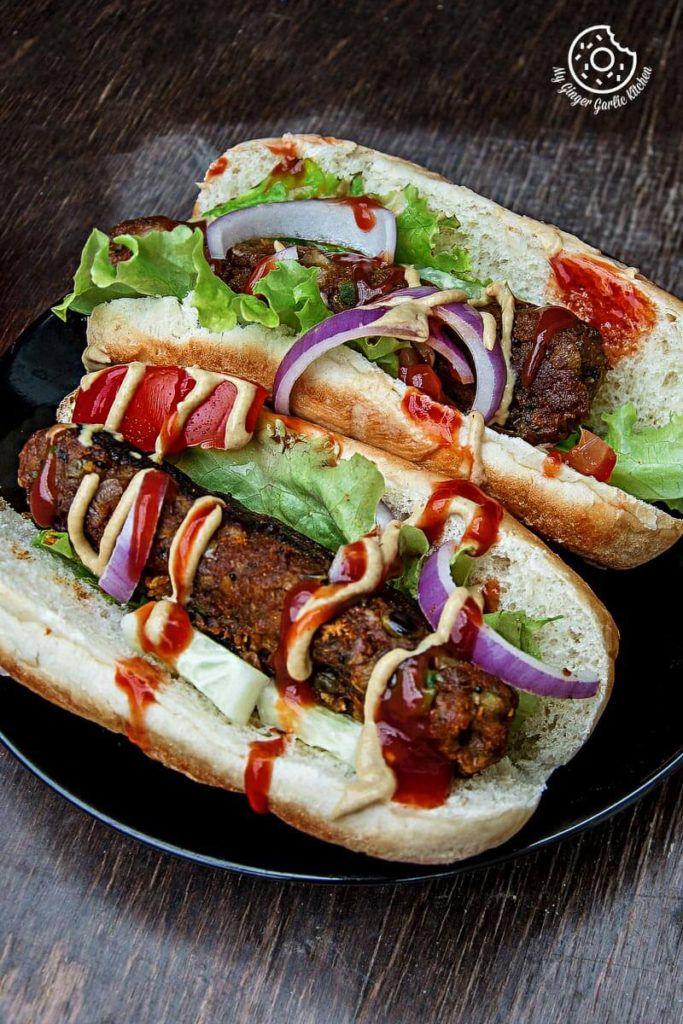 Sweet Potato Cabbage Hot Dogs | mygingergarlickitchen.com/ @anupama_dreams
