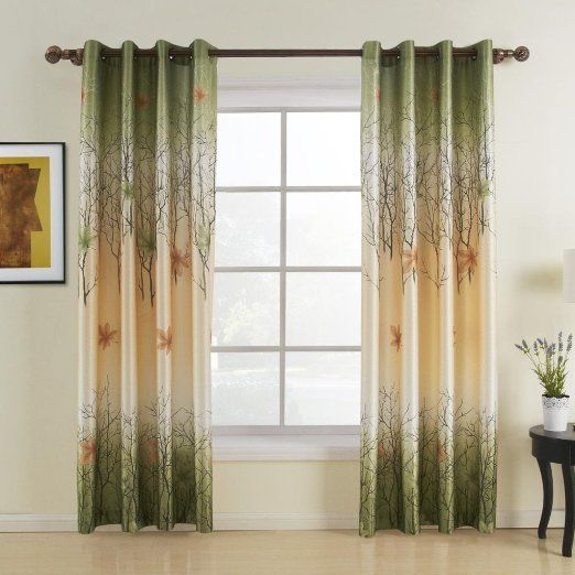 FirstHomer Maple Leaf Print Polyester Blackout Lined Curtain Drape  AntiBronze Grommet By Inch 1 Panel SOFITEL Collection For Bedroom Living  Room Club ...