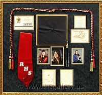 Graduation Shadow box with hat, photos, tassel and graduation announcement.