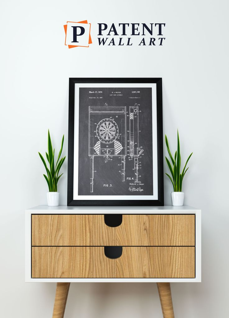 Darts Dartboard Patent Print, shows the competative dart board used in the sport of darts. These prints are for sale alongside over 200 other patent prints at patentwallart.com