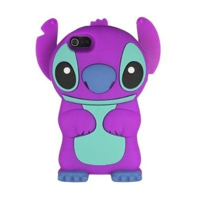 Purple 3D Cartoon with Movable Ears iPhone 5 Silicone Rubber Soft Case Cover