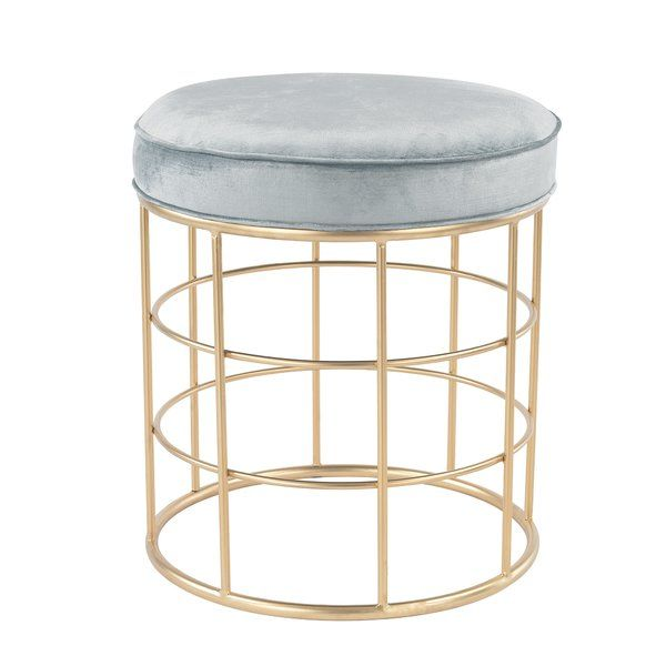 "No need to be bashful. This Stool is purposely aimed at the senses. Considering its base of graceful, brightly golden hoops and supremely elegant duck egg blue velvet cushion, you're all set to begin ""Imaginatively luxuriating"". Or at least your feet will be. Perfect for a chic home office."