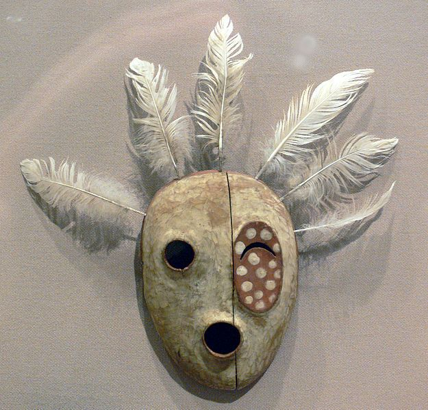 Mask The Bad Spirit of the Mountain, Yupik Eskimo, late 19th century, 21.1 x 14.6 cm; Wood, paint, and feathers; from St. Michael, Alaska