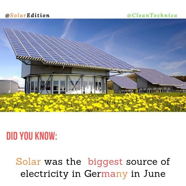 Did You Know Solar Was The Biggest Source Of Electricity In Germany In June Germany Achieved A Remarkable Milestone In The Month Of June With Solar For The F