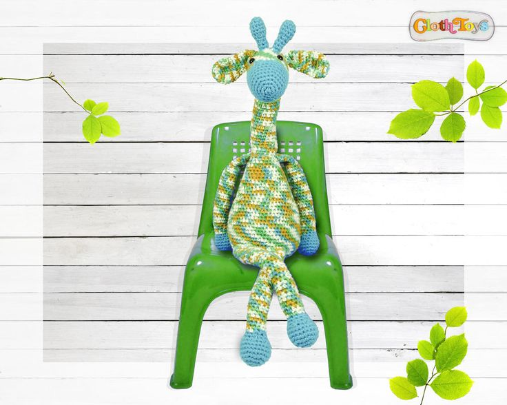 Large Crocheted GIRAFFE, Child's Toy, Crochet Toy, Green Giraffe, Ready To Post, Cute Softie, Stuffed Toy, Jungle Nursery Decor , Animal, by ClothToyCreations on Etsy