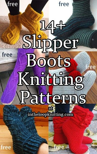 Knitting patterns for cozy slipper socks and boot / bootie style slippers. Most patterns are free