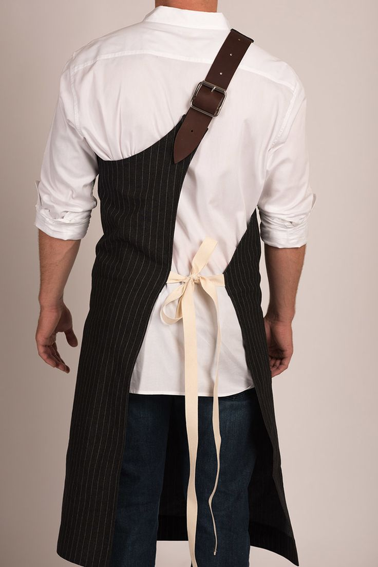 Butcher Apron: Pinstripe Grey or Pinstripe Black