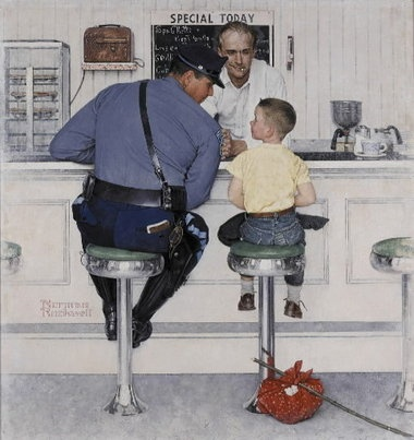 """Although few know him by name, Retired Staff Sergeant Richard Clemens of the Massachusetts State Police was one of the most famous American law enforcement officers. It is hard to imagine anyone having not seen Norman Rockwell's image of trooper Clemens and a young runaway seated at the counter of a diner. Sergeant Clemens died Sunday at 83. """"The Runaway"""" captured all that was good about being a cop. In death as in life, he'll live on as the iconic symbol of the good cop. Rest in Peace…"""
