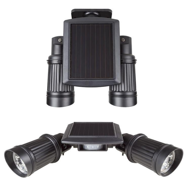 Stalwart Solar Powered 14 LED Dual Head Motion Sensor Wall Spotlight
