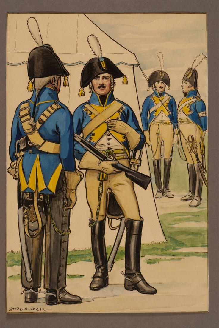 Dragoons, non-commissioned officer and officer at Västgöta linjedragonregemente in 1794 by Einar von Strokirch