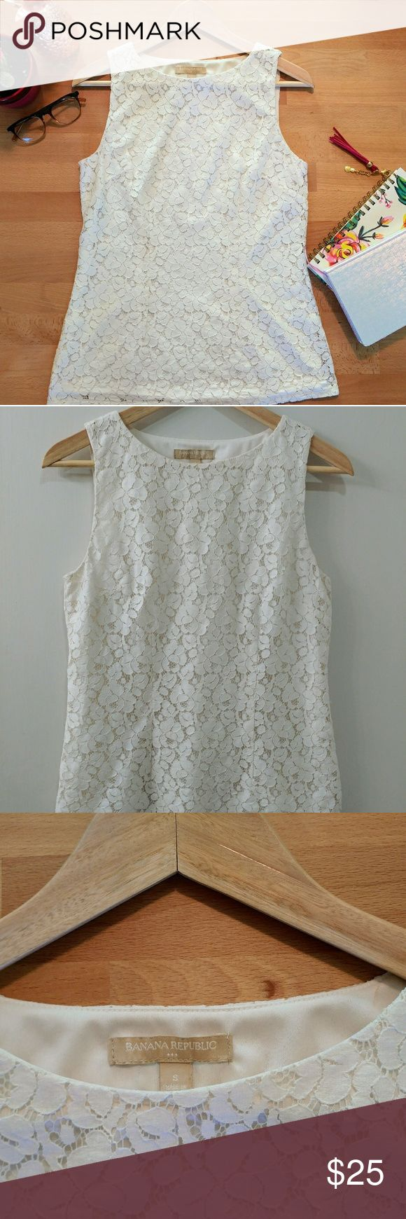 Banana Republic lace tank top White/cream lace tank top. Business casual, comfortable fit. Perfect for work or brunch! Banana Republic Tops Tank Tops