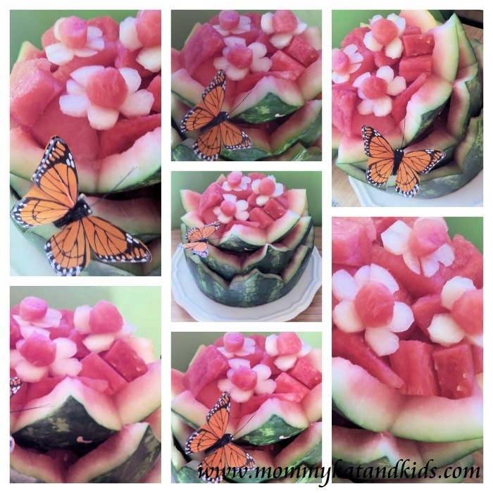 Carving a Watermelon Flower for the Kid-tastic Watermelon Blogger Challenge
