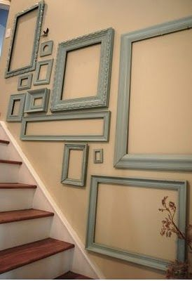 blue picture frames used for staircase wall decoration ideas. I would put