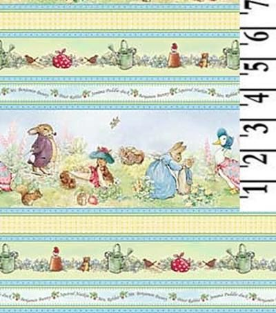 Beatrix Potter Peter Rabbit Cotton FaBriC Victorian Nursery Border stripes. $29.99, via Etsy.