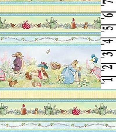 Beatrix Potter Fabric Peter Rabbit Benjamin Bunny Cotton Victorian Nursery Border Stripes