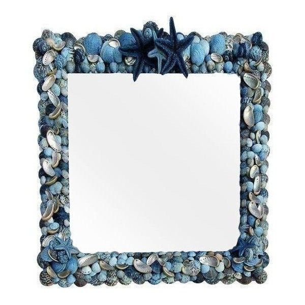 blue wave shell framed mirror 3 210 brl liked on