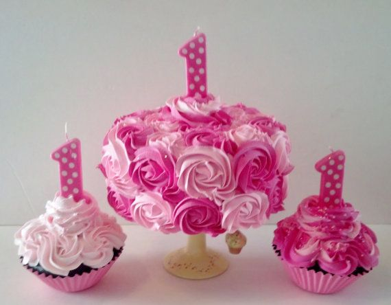 pastel mermaid first birthday cake   Spark - FakeCupcakeCreations - First Birthday Pink Rosettes Fake Cake ...