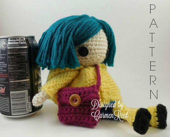 ATTENTION - Keep in mind that this is a crochet pattern in a PDF. This is NOT the finished product.  From the movie Coraline directed by Henry Selick.  Coraline Petite is approximately 8 1/2 inches tall. Also, please keep in mind that this doll cannot stand up on its own.  This is a non-refundable purchase. Once the payment has been confirmed you will be allowed to download the pattern in a PDF. The language in the pattern is in English only. The pattern includes all of the yarns colors I…