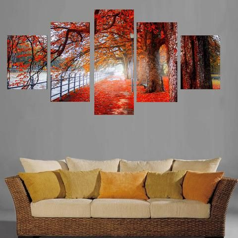 5 Pieces Red Trees Forest Paintings Deciduous Street View Wall Art