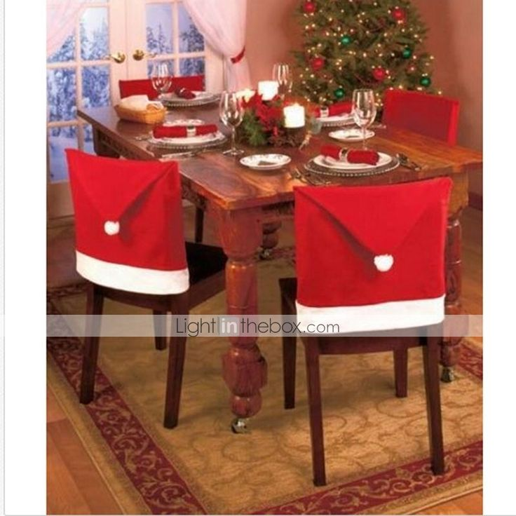 1pcs decoraciones de navidad de santa silla sombrero rojo - Decoracion de sombreros ...