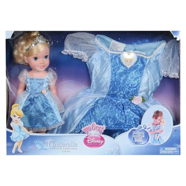 Disney Store Deluxe Cinderella Costume For Baby Toddler 2t: Disney Princess Cinderella Doll & Toddler Dress Gift Set