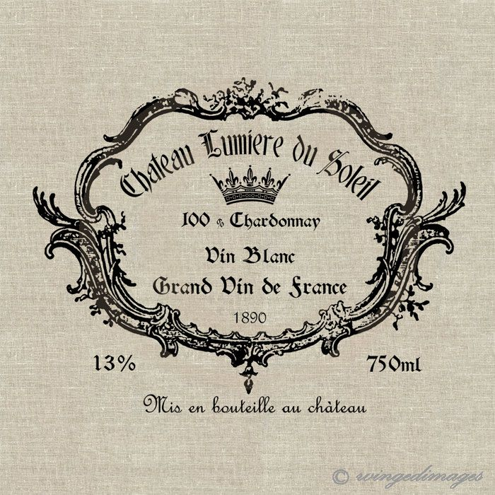 Vintage French Wine Label. Image No.27, Digital Download Iron-On Transfer to…