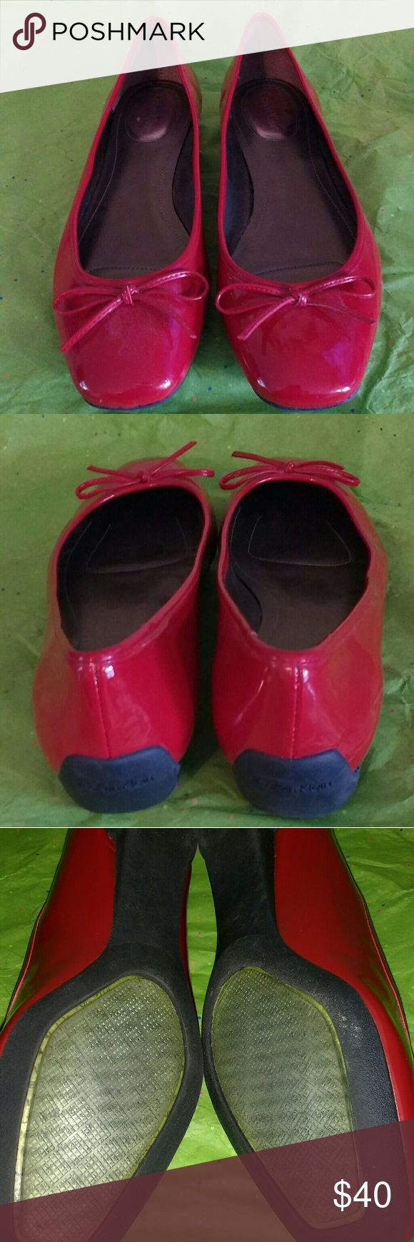 Calvin Klein Shoes Red Patent Leather with cushion inside shoe & comfort sole Calvin Klein Shoes Flats & Loafers