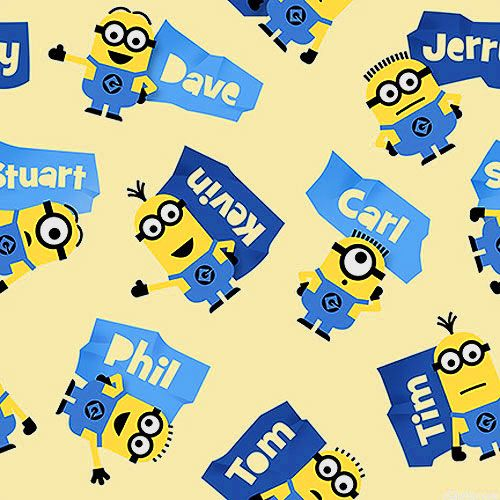 Minions - Name that Minion - Lt Yellow. Fabric from eQuilter.com
