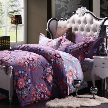 Eggplant Purple Grey and Orange Folklore Flower Print Country Chic Retro Style 100% Cotton Full, Queen Size Bedding Sets